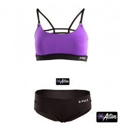CONJUNTO TOP PURPURA Y BRAGUERO  X-POLE
